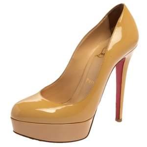 """حذاء كعب عالي كريستيان لوبوتان """"بيانكا"""" نعل سميك جلد لامع بيج مقاس 36.5"""