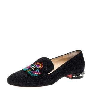 Christian Louboutin Black Shimmering Fabric Smoking Slippers Size 37
