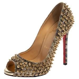 حذاء كعب عالى كريستيان لوبوتان مقدمة مفتوحة سبايك غليتر ذهبى مقاس 36