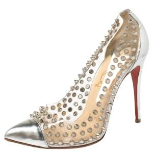 Christian Louboutin Silver Patent Leather And PVC Debout Pointed Toe Pumps Size 36