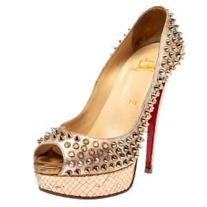 حذاء كعب عالي كريستيان لوبوتان لايدي جلد ذهبي/وردي ميتاليك مقدمة مفتوحة نعل سميك تفاصيل مدببة مقاس 38