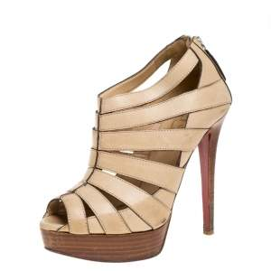 Christian Louboutin Light Beige Leather Strappy Platform Booties Size 36