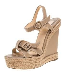 Christian Louboutin Beige Leather Zero Problem Espadrille Wedge Sandals Size 36
