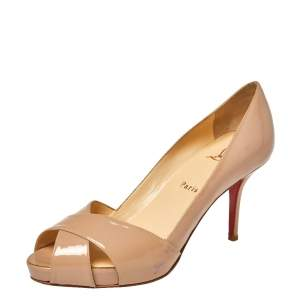 Christian Louboutin Beige Patent Leather Shelley Pumps Size 38