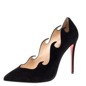 Christian Louboutin Black Suede Olavague Flame Pointed Toe Pumps Size 38.5