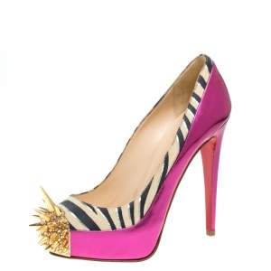 Christian Louboutin Pink Zebra Print Suede And Patent Leather Limited Edition Asteroid Spike Pumps Size 37.5