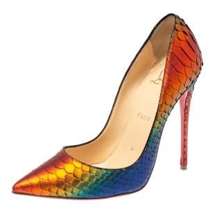 حذاء كعب عالي كريستيان لوبوتان بيغال ثعبان ميتاليك متعدد الألوان مقدمة مدببة مقاس 38