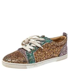 Christian Louboutin Tricolor Glitters Louis Junior Orlato Low Top Sneakers Size 38