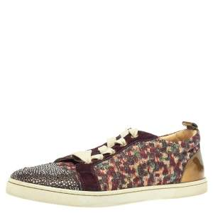 Christian Louboutin Multicolor Lurex and Suede Gandolastrass Low Top Sneakers Size 37.5