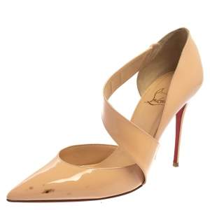 Christian Louboutin Beige Patent Leather Jumping Cross Strap Pumps Size 40