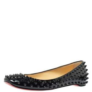 Christian Louboutin Black Patent Leather Pigalle Spike Flats Size 39.5