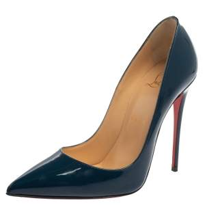 Christian Louboutin Navy Blue Patent Leather So Kate Ponited Toe Pumps Size 37.5