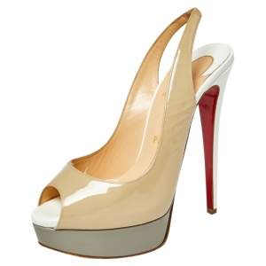 Christian Louboutin Beige Patent Leather Lady Peep Toe Slingback Sandals Size 37