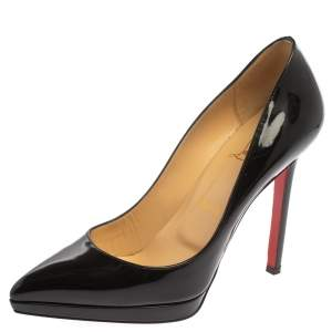 Christian Louboutin Black Patent Leather Pigalle Plato Platform Pumps Size 37.5