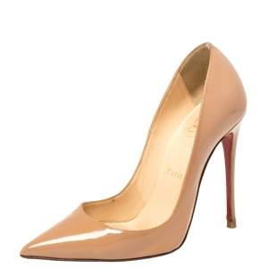 Christian Louboutin Beige Patent Leather So Kate Pumps Size 34.5