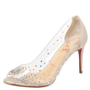 Christian Louboutin Beige PVC And Leather Sucre Glace Pumps Size 36