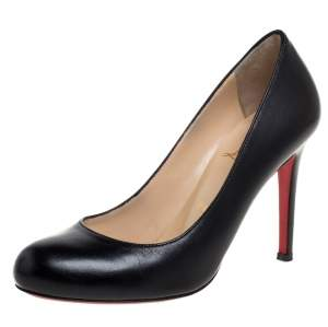 Christian Louboutin Black Leather Simple  Pumps Size 36