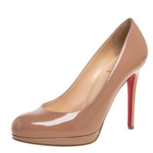 Christian Louboutin Beige Patent Leather New Simple Pumps Size 38