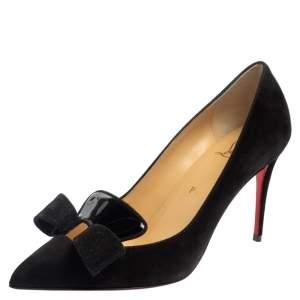 حذاء كريستيان لوبوتان سوريسو جلد لامع وسويدى أسود مقاس 37.5