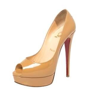 """حذاء كعب عالي كريستيان لوبوتان """"ليدي"""" مقدمة مفتوحة و نعل سميك جلد لامع بيج مقاس 37.5"""