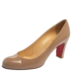 Christian Louboutin Beige Patent Leather Cadrilla Block Heel Pumps Size 40.5