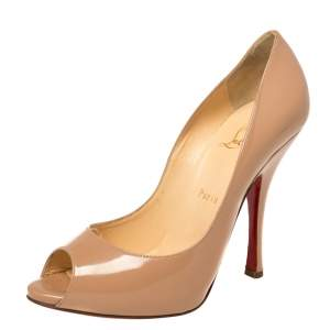 Christian Louboutin Beige Patent Leather Yoyo Peep Toe Pumps Size 39.5