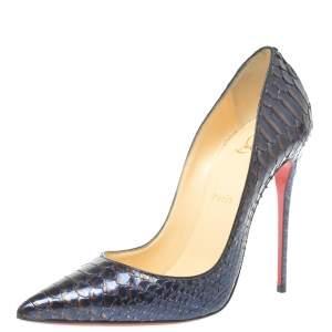 حذاء كعب عالي كريستيان لوبوتان سو كيت جلد ثعبان ثنائي اللون مقدمة مدببة مقاس 39.5