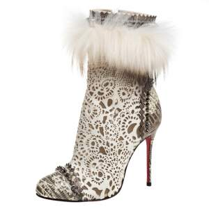Christian Louboutin Calf Hair And Lizard Skin Tootsie Ankle Boots Size 37