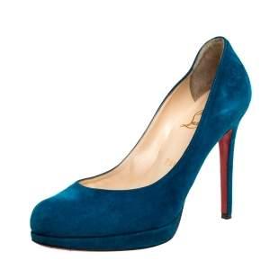 حذاء كعب عالي كريستيان لوبوتان سويدي أزرق نيوسيمبل نعل سميك مقاس 37