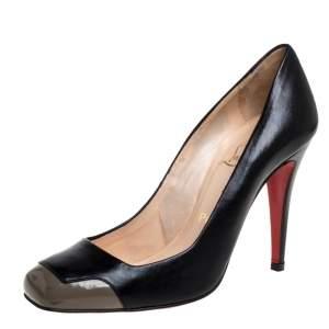 حذاء كعب عالي كريستيان لوبوتان جلد رصاصي/أسود مقدمة مربعة مقاس 38