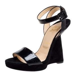 حذاء كعب روكي كريستيان لوبوتان سير كاحل دجالدوس سبشيو جلد لامع وسويدي أسود مقاس 39.5