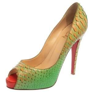 حذاء كعب عالي كريستيان لوبوتان فيري بريف جلد ثعبان برتقالي /أخضر مقدمة مفتوحة مقاس 40