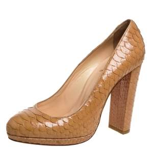 "حذاء كعب عالي كريستيان لوبوتان ""غرابي"" نعل سميك جلد ثعبان بيج مقاس 38"