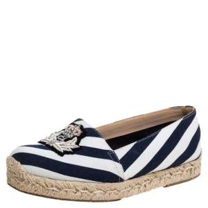 Christian Louboutin Blue/White Striped Canvas Galia Espadrille Flats Size 35