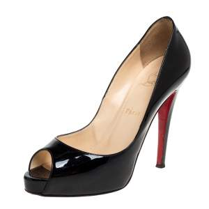 Christian Louboutin Black Patent Leather Very Prive Peep Toe Pumps Size 39