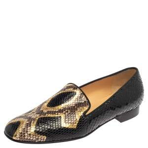 Christian Louboutin Black/Brown Python Leather Smoking Slippers Size 38