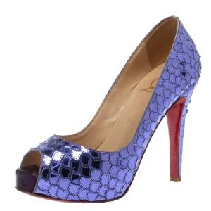 Christian Louboutin Purple Mirrored Sequin Patent Leather Very Prive Peep Toe Pumps Size 36.5
