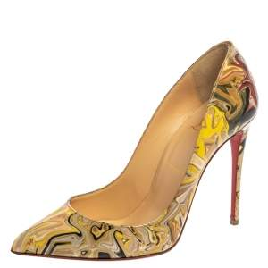 Christian Louboutin Multicolor Print Patent Leather Pigalle Follies Pumps Size 37