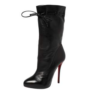 Christian Louboutin Black Leather Valentine Mid Calf Boots Size 38.5