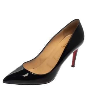 حذاء كعب عالي كريستيان لوبوتان بيغالي مقدمة مدببة جلد لامع أسود مقاس 39