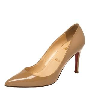 Christian Louboutin Beige Patent Leather Pigalle Pointed Toe Pumps Size 36.5