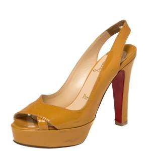 Christian Louboutin Mustard Yellow Patent Leather Marpoil Peep Toe Platform Slingback Sandals Size 38
