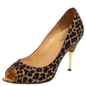 """حذاء كعب عالي كريستيان لوبوتان """"يويوسبينا"""" جاكارد مطبوع نقشة الفهد ذهبي ميتاليك مقاس 37.5"""