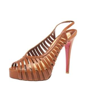 Christian Louboutin Tan Leather Cut Out Peep Toe Platform Slingback Sandals Size 39