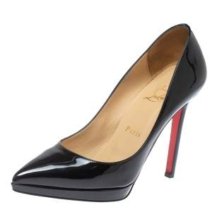 Christian Louboutin Black Patent Leather Pigalle Platform Pumps Size 36.5