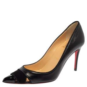 Christian Louboutin Black Leather And Suede Pumps Size 35