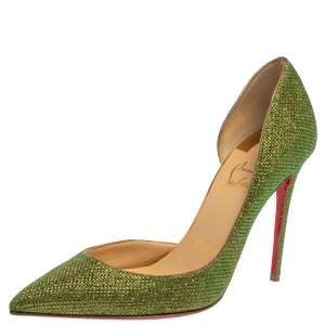 Christian Louboutin Green Glitter Fabric Iriza D'orsay Pumps Size 35