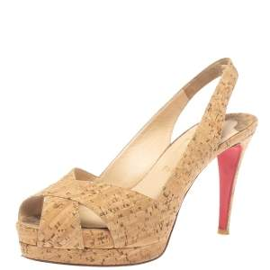 Christian Louboutin Brown/Beige Cork Soso Criss Cross Platform Slingback Sandals Size 39