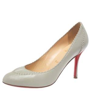 Christian Louboutin Grey Leather Pumps Size 38.5