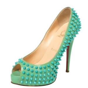 Christian Louboutin Green Patent Lady Peep Toe Spikes Platform Pumps Size 37.5